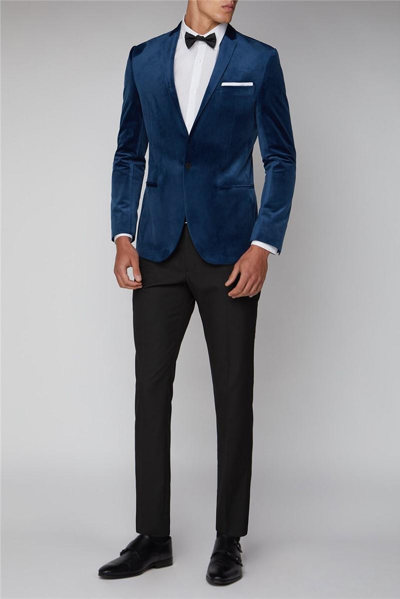 Teal Blue Slim Fit Velvet Jacket
