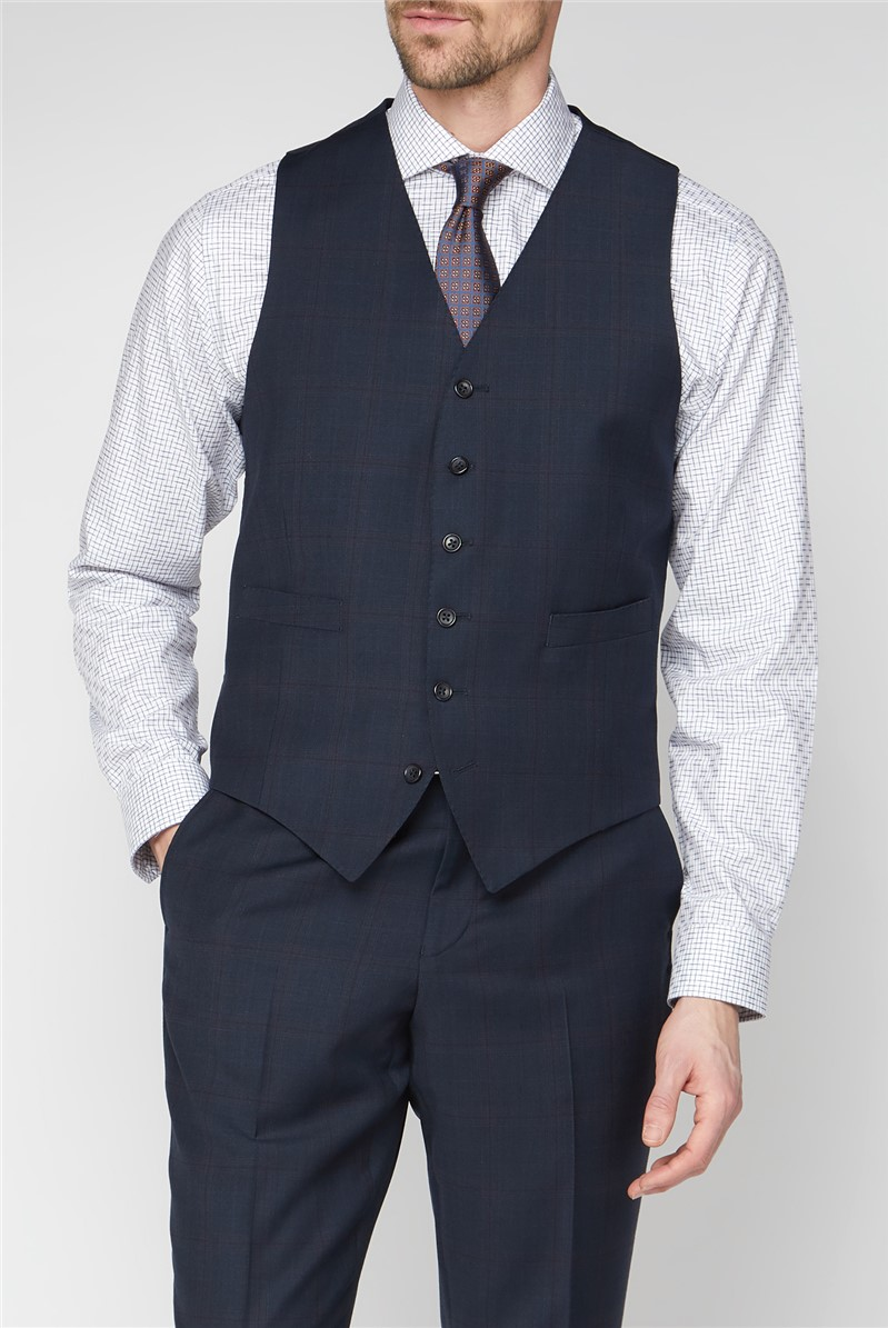 Navy & Red Checked Travel Suit Jacket