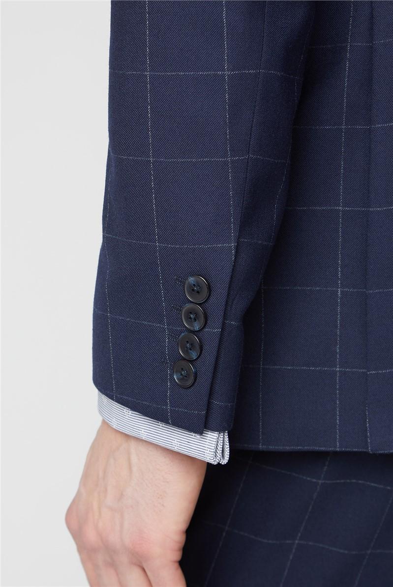Navy Boucle Windowpane Checked Waistcoat