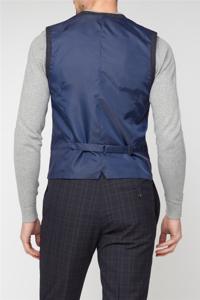 Stvdio Deep Blue Check Super Slim Fit Brit Waistcoat