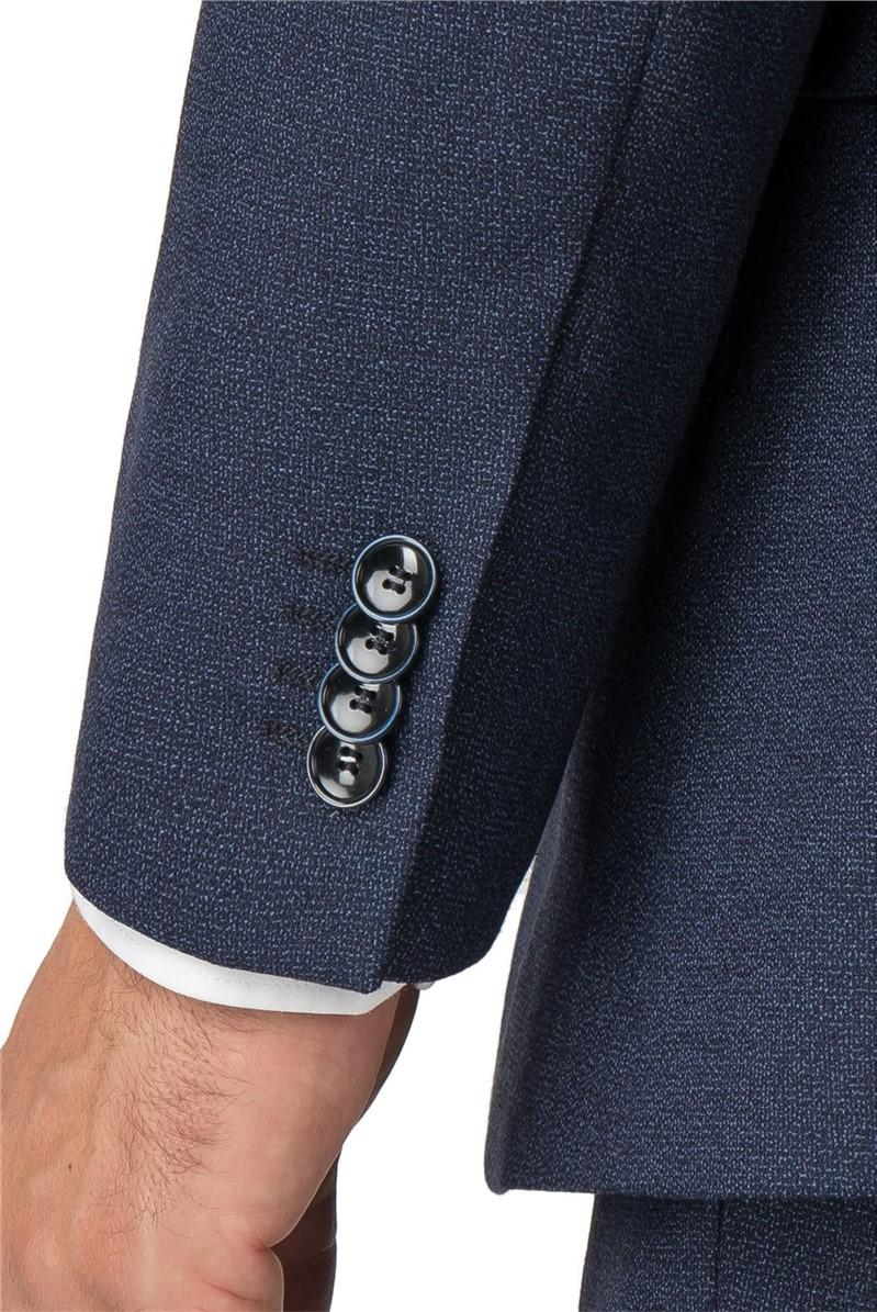 Blue Semi Plain Wool Blend Regular Fit Suit Trouser
