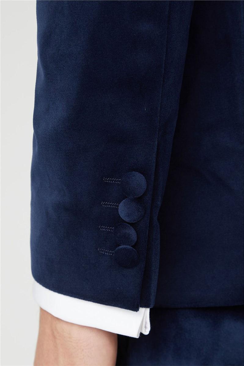 Bright Blue Velvet Slim Fit Suit