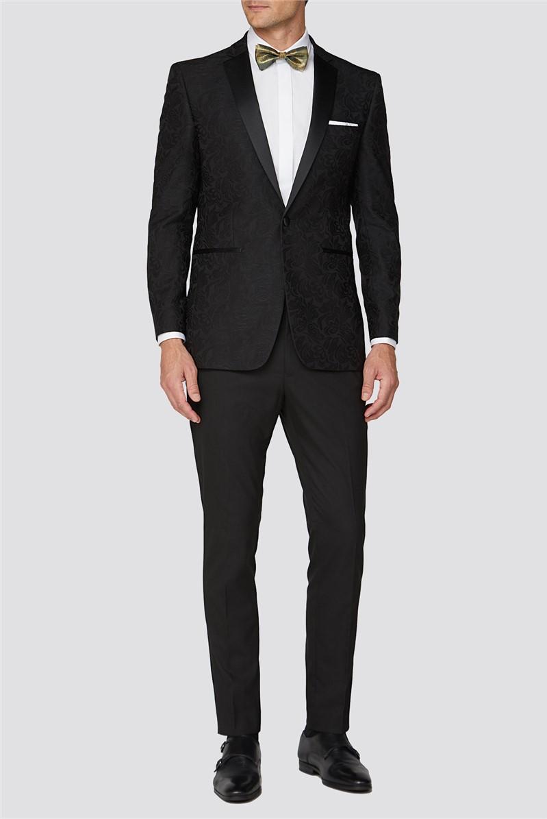 Black Jacquard Regular Fit Jacket