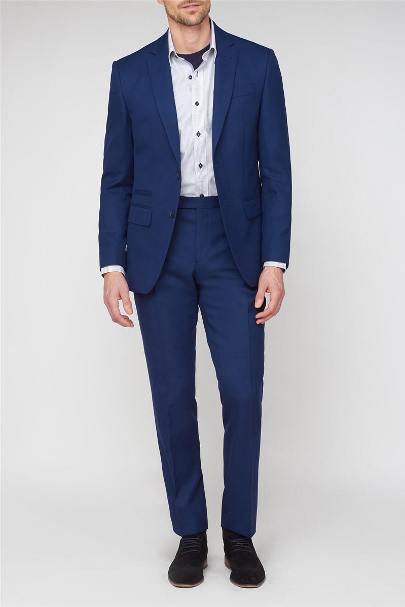 Blue Textured Regular Fit Suit Trousers