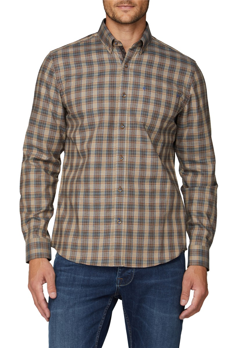 London Casual Brown Brushed Checked Shirt