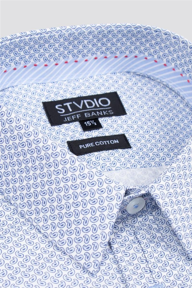 Stvdio by  White Micro Paisley Print Shirt