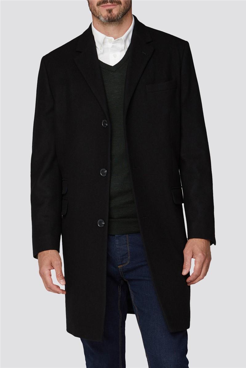 Black Melton Overcoat