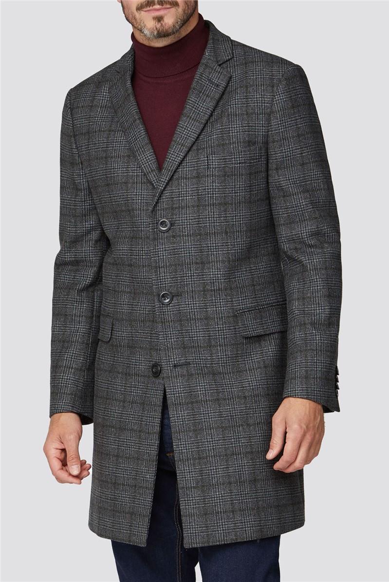 Grey with Khaki Overcheck Overcoat