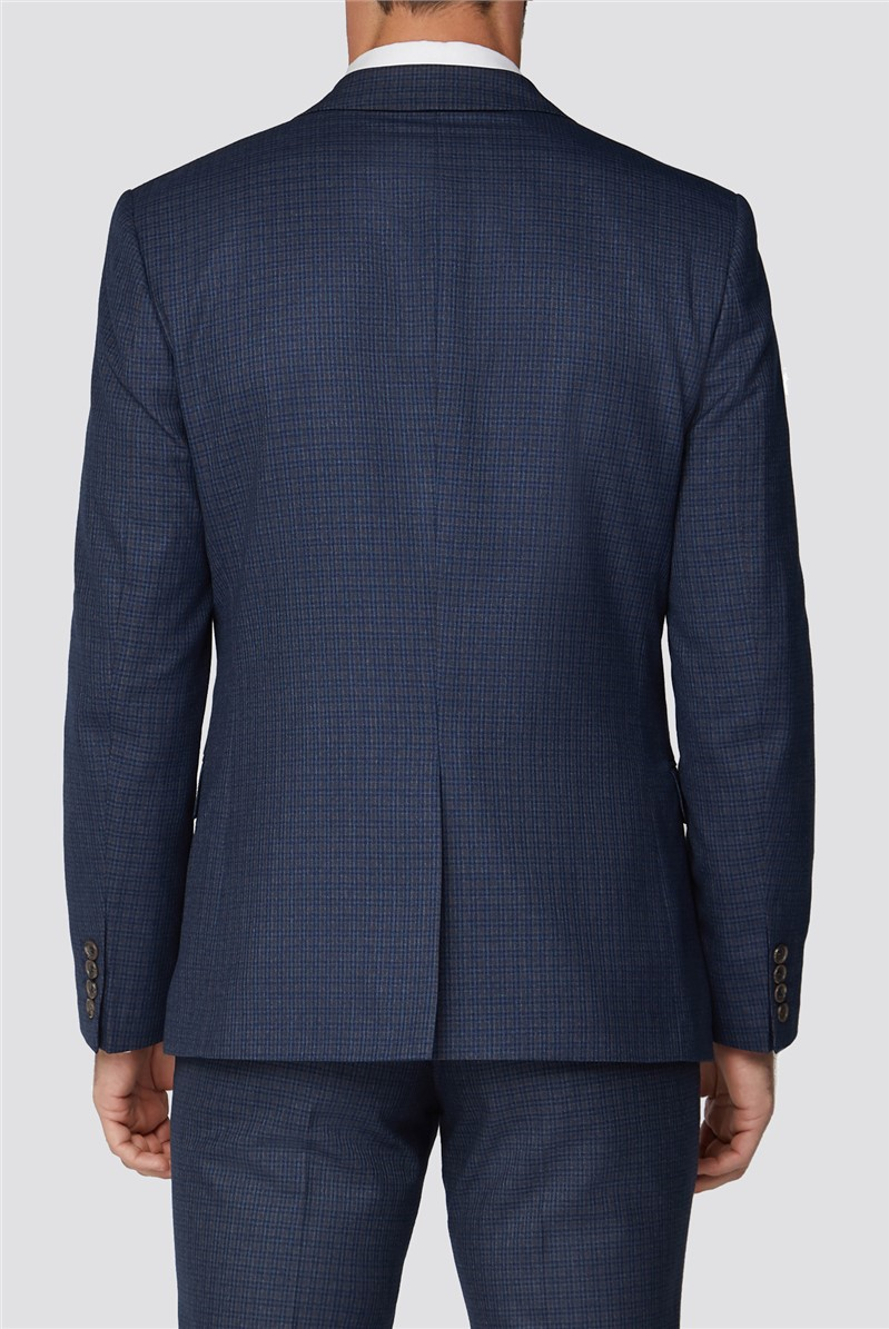 Navy With Tan Mini Check Slim Suit Trousers