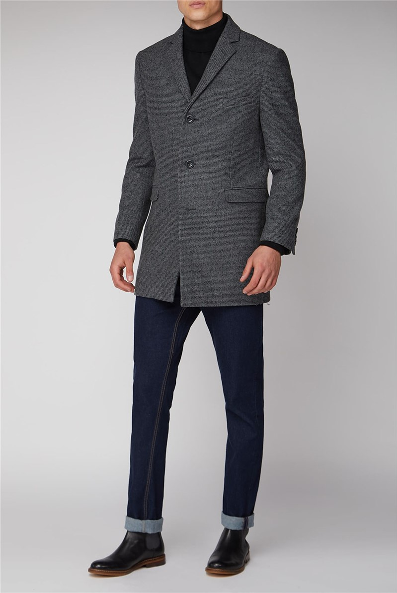 Grey Semi Plain Regular Fit Overcoat