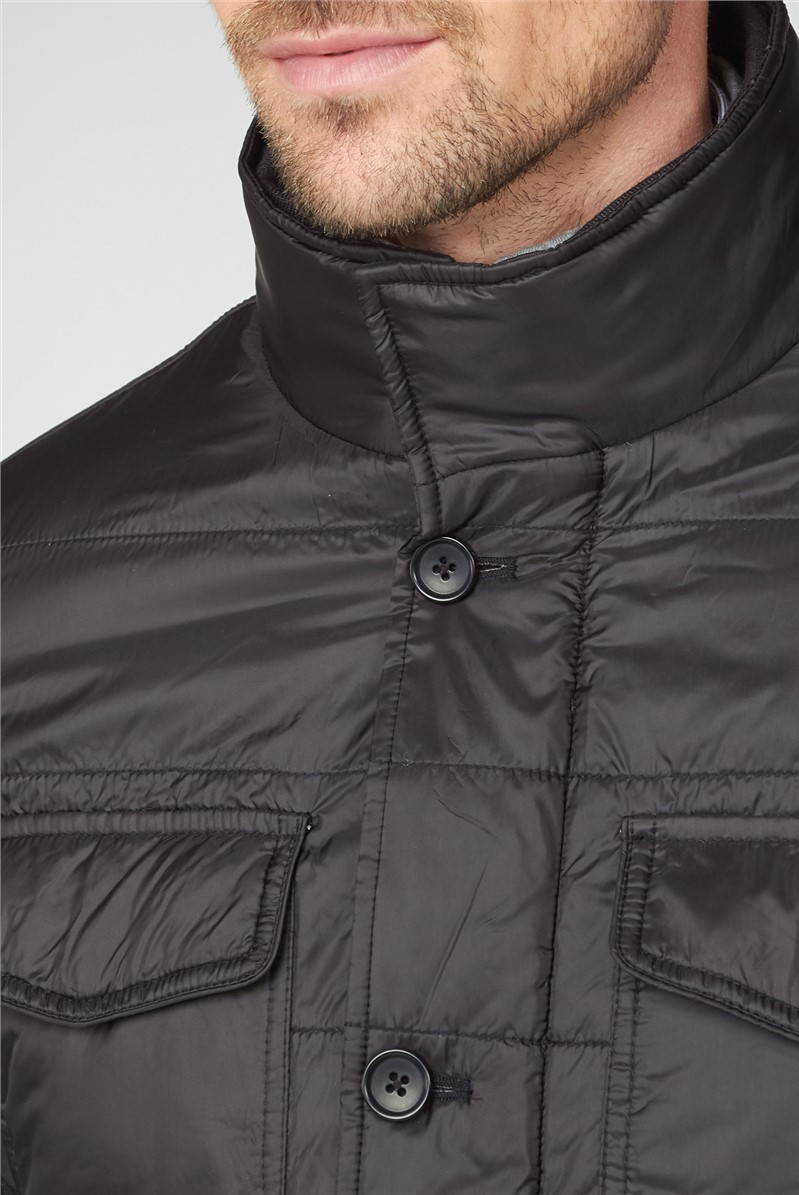Black Quilted Casual Jacket