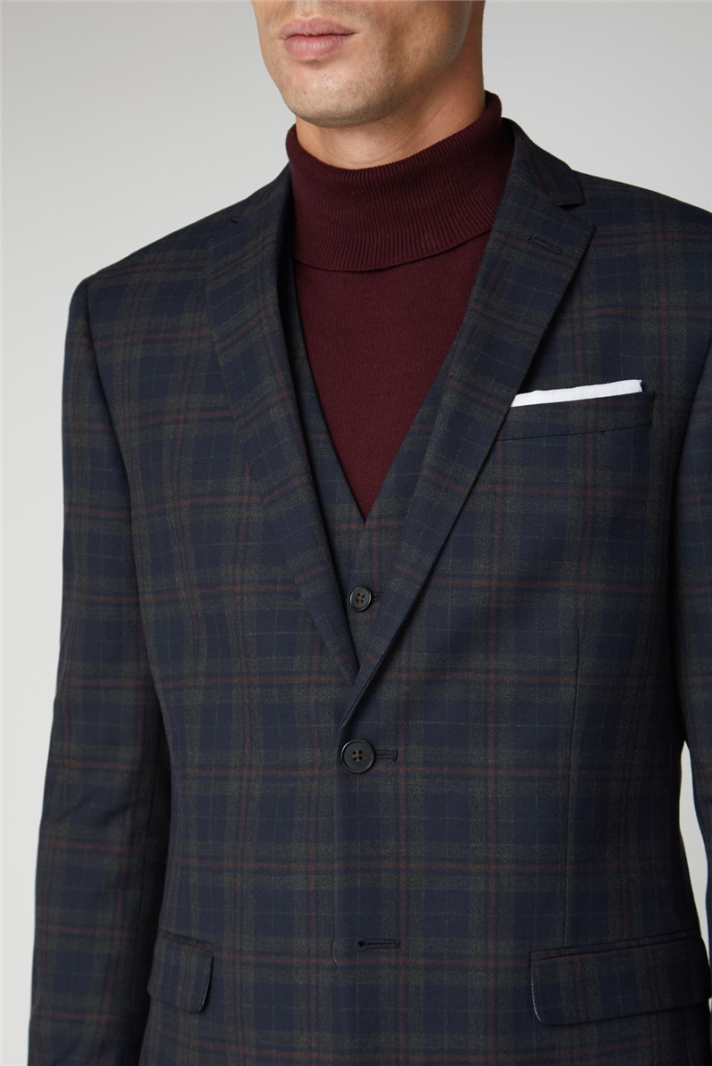 Navy Red Check Slim Fit Trouser