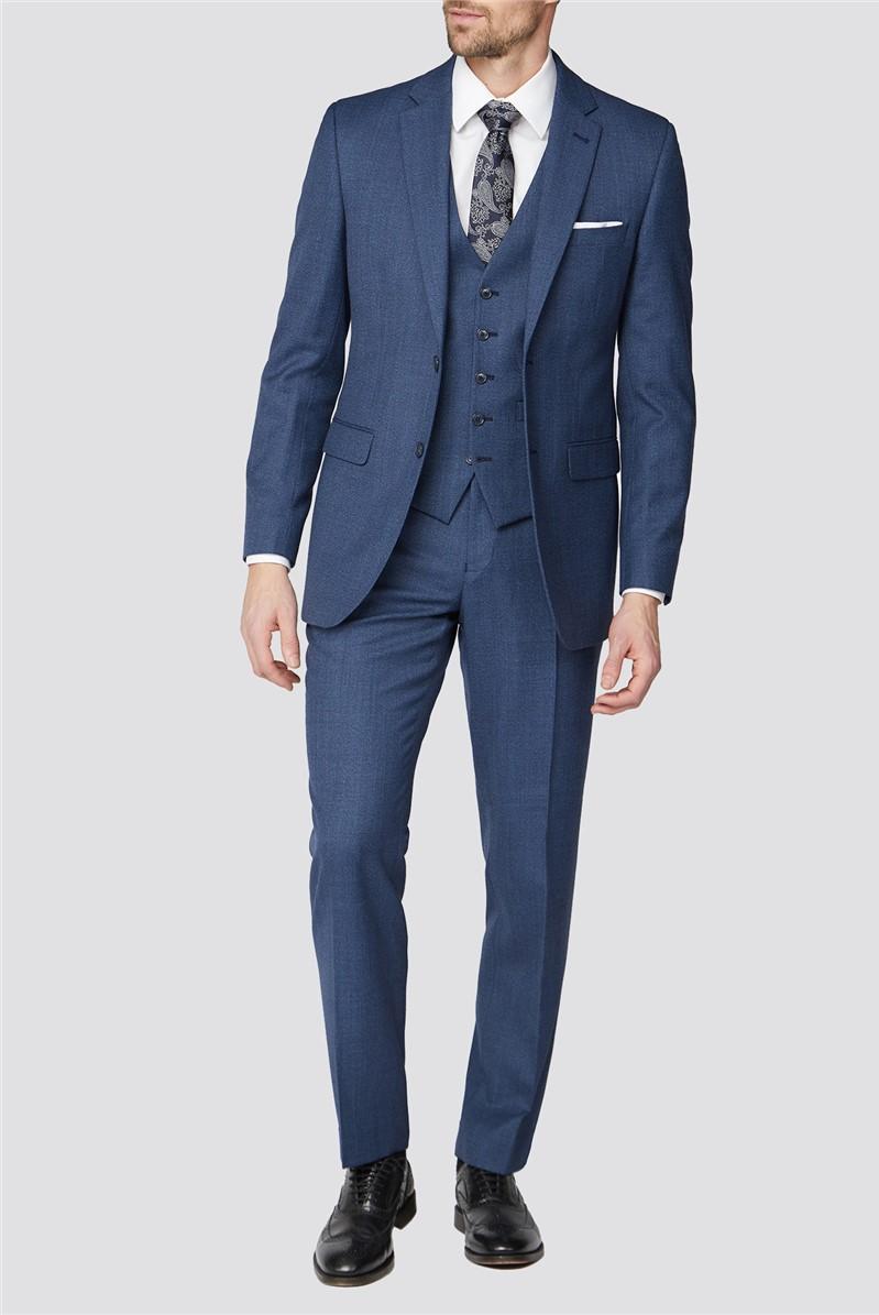 Bright Blue Texture Regular Fit Suit Trouser