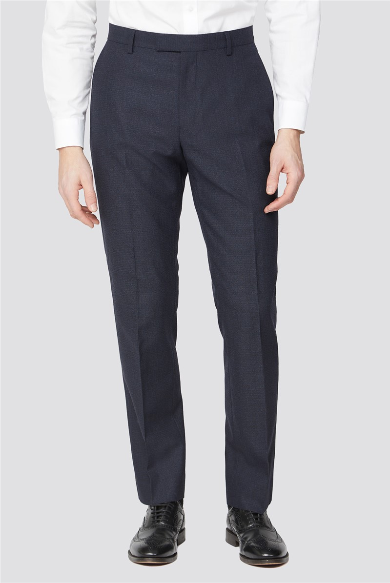 Deep Blue Texture Regular Fit Suit Trouser