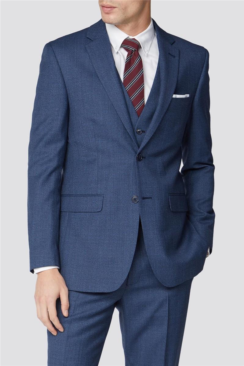 Bright Blue Texture Slim Fit Suit