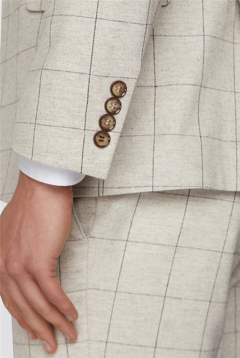Taupe with Berry Overcheck Slim Suit Tweed Suit Trouser