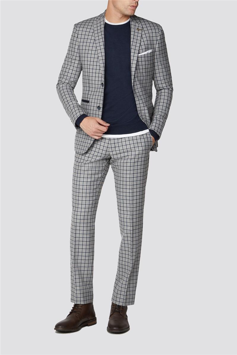 Grey Navy Check Tweed Slim Fit Suit Trouser