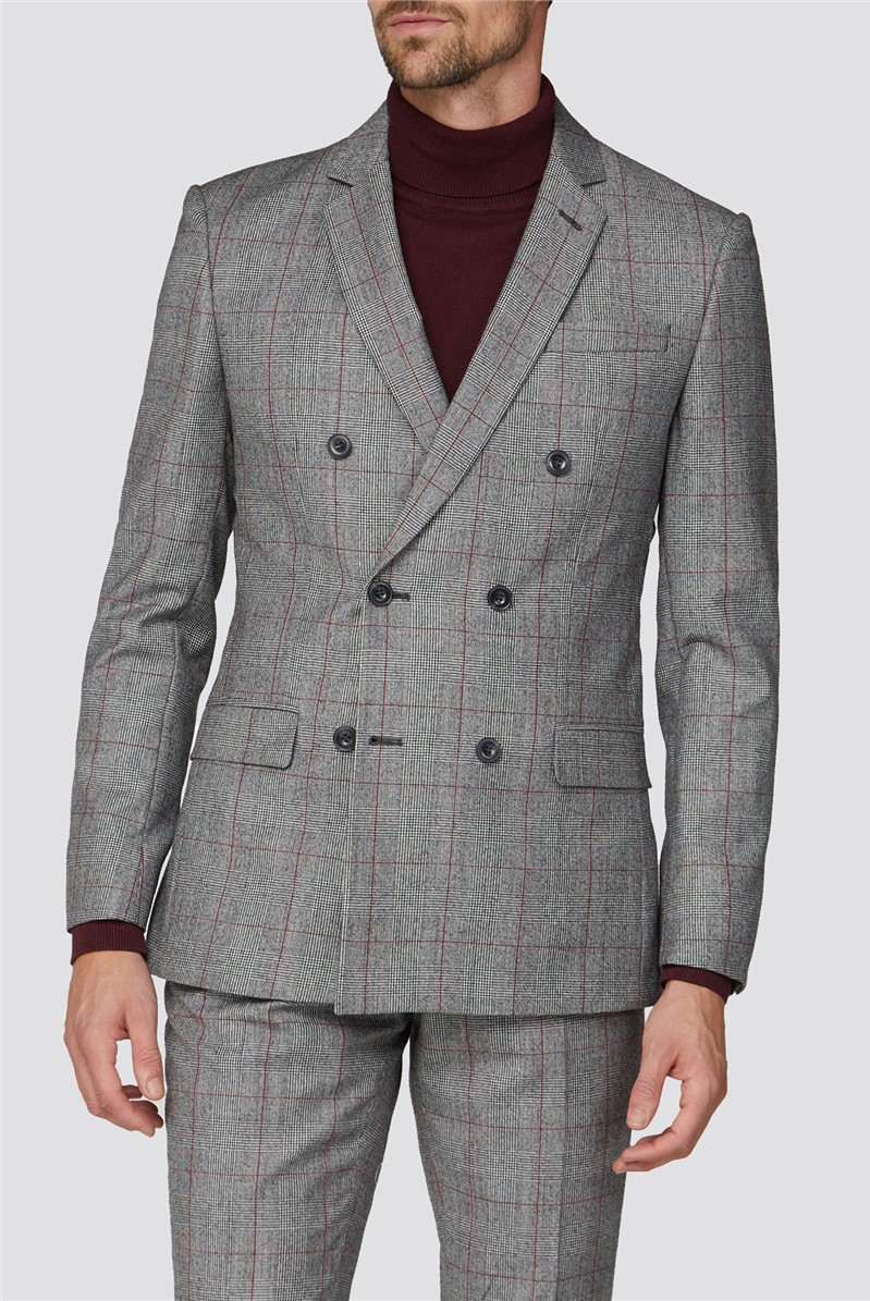 Berry Prince of Wales Check Double Breasted Tailored Fit Suit Jacket