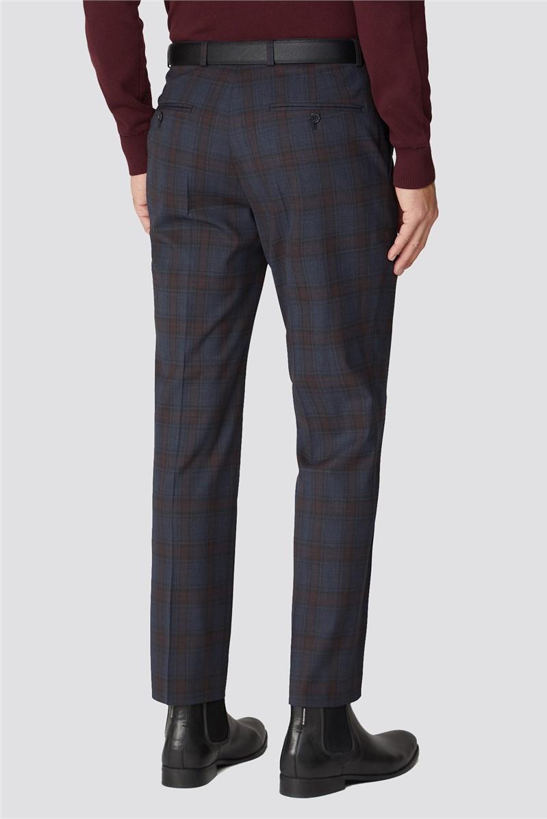 Alexandre Silver Blue & Berry Check Regular Fit Trouser