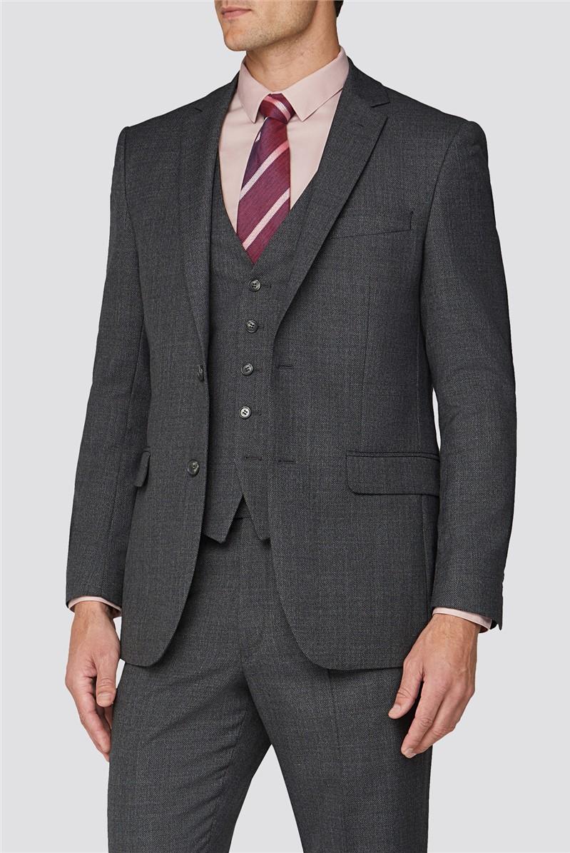 Alexandre Silver Charcoal Texture Regular Fit Suit