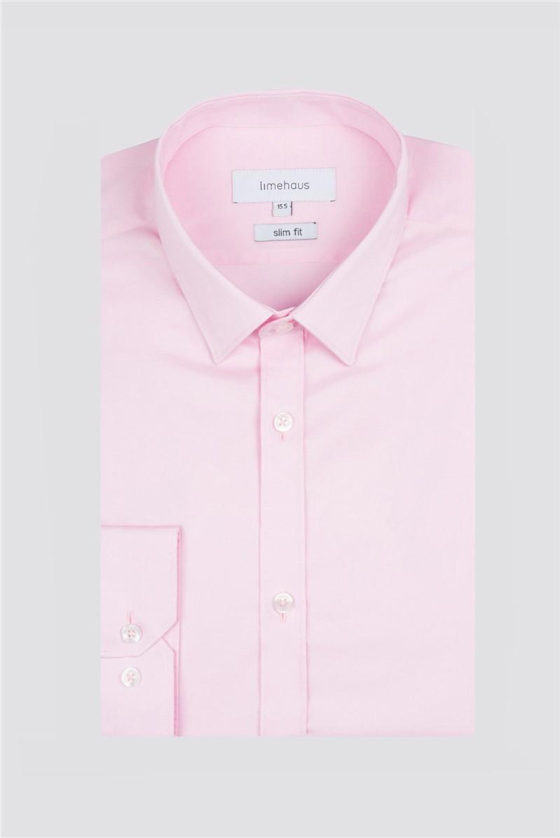 Slim Fit Pink Poplin Single Cuff Shirt