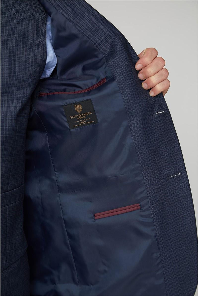 Navy Blue Broken Check Regular Fit Waistcoat