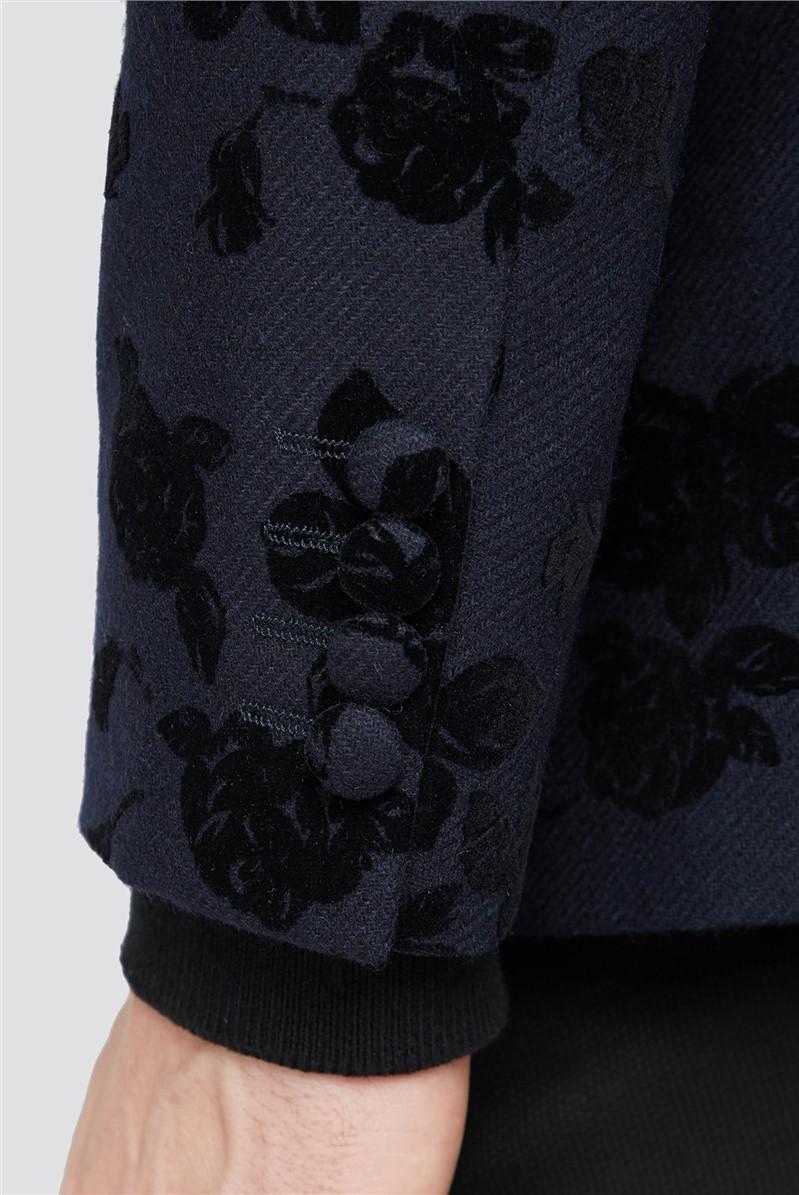 Navy Rose Flock Tailored Jacket