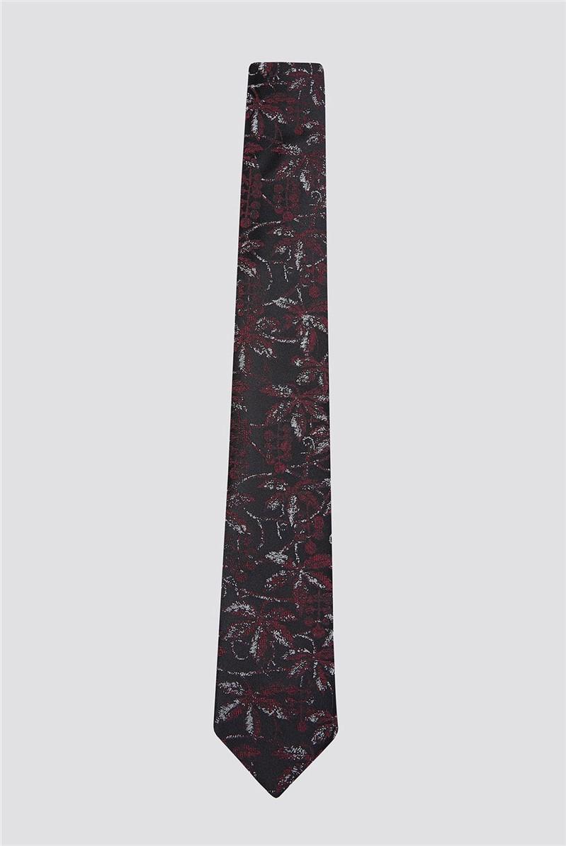 Wine Scratch Leaf Print Tie