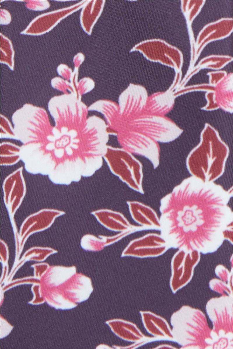 Wine Hibiscus Floral Print Tie