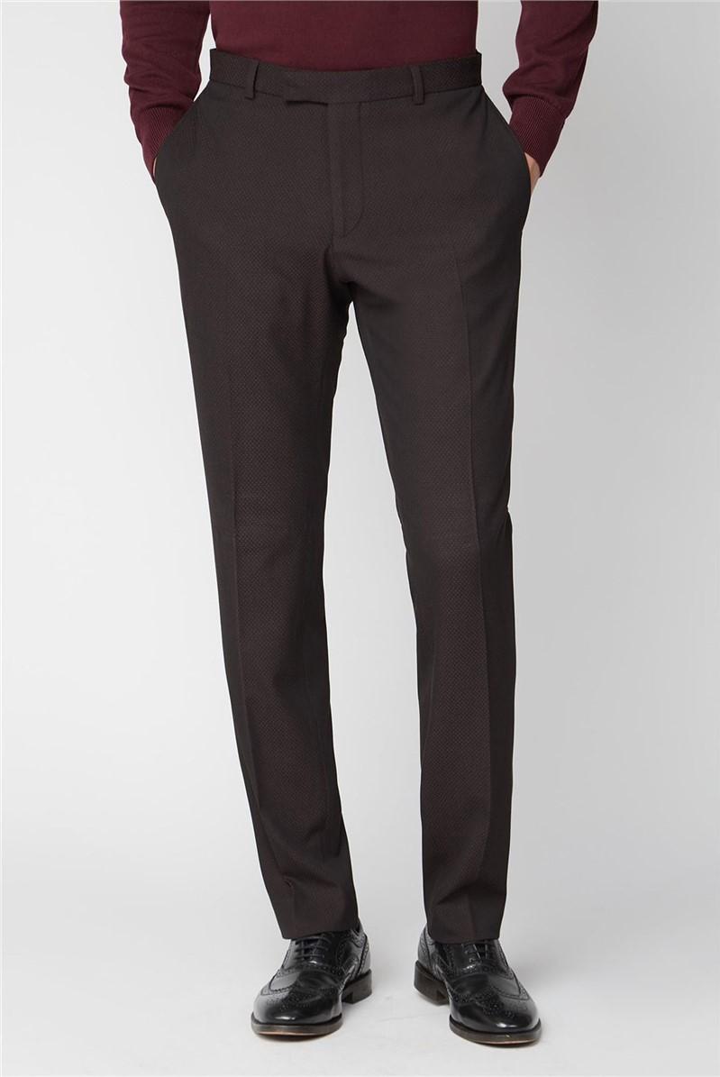 Burgundy Texture Slim Suit Trousers