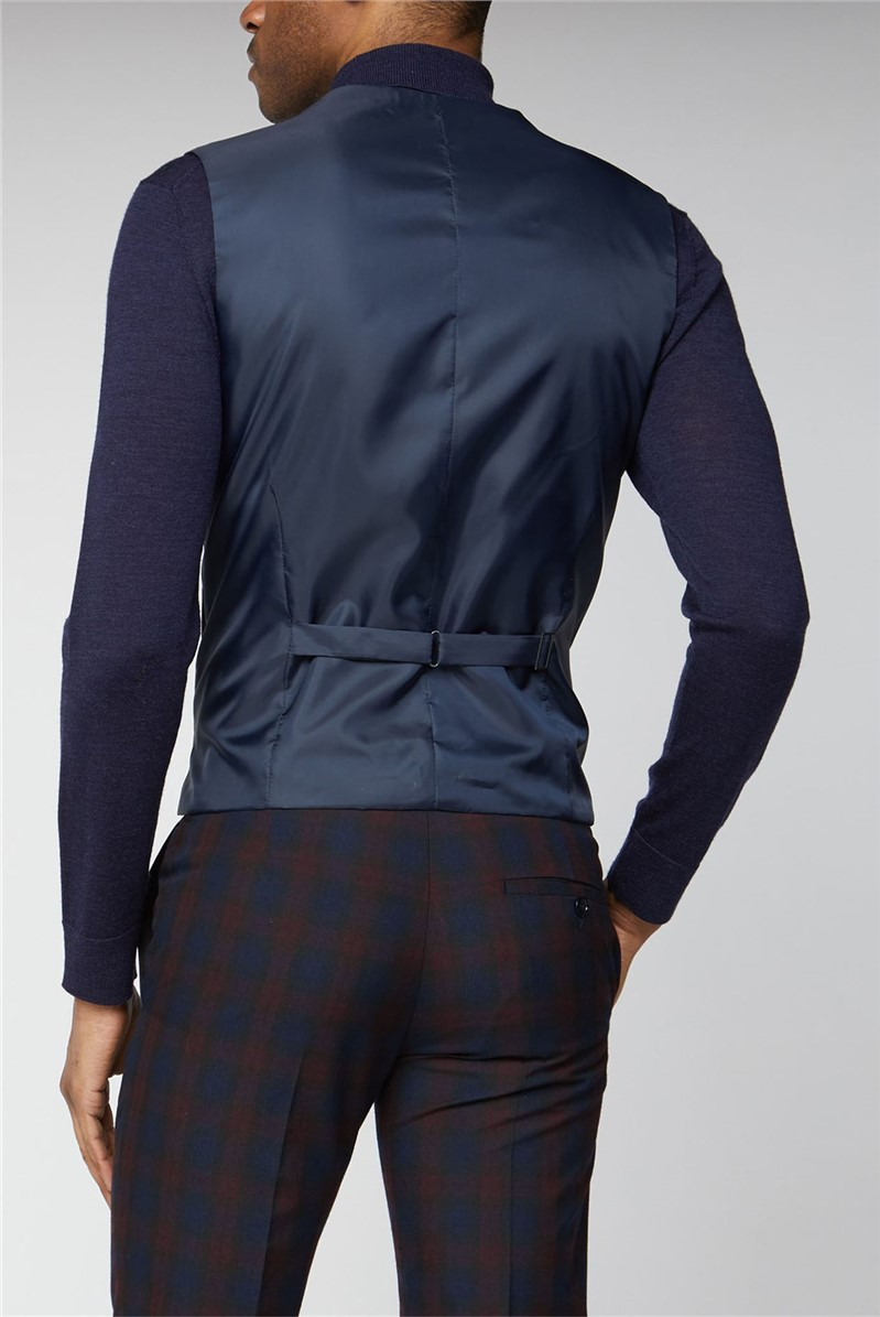 Navy Burgundy Check Skinny Suit