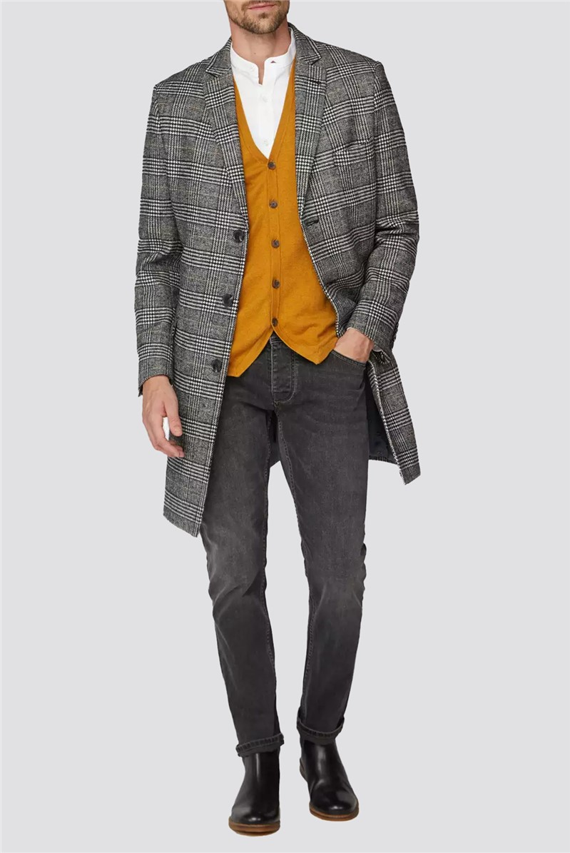 Prince of wales check caramel overcoat