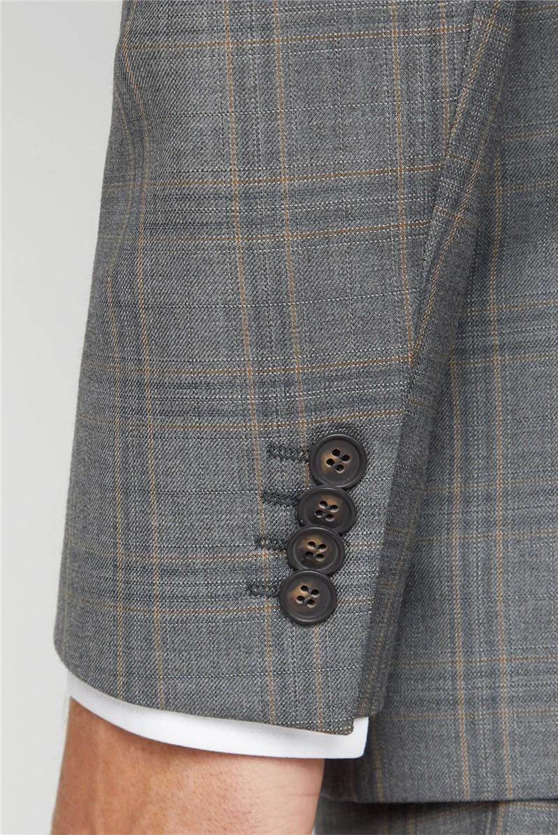 Grey Rust Check Regular Fit Suit