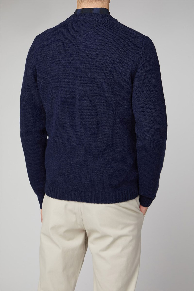 Delten Navy Shetland Wool Crew Knit Jumper