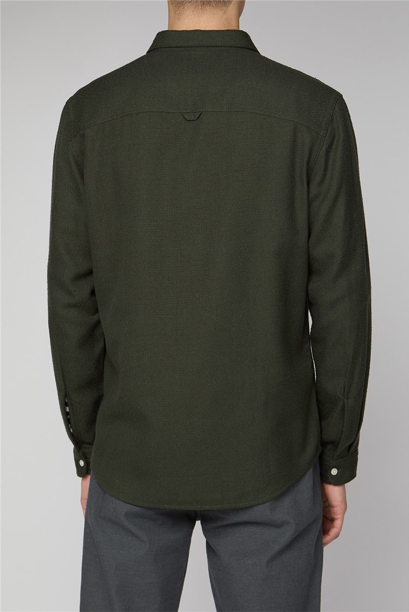 Arvika Olive Green Long Sleeve Loop Texture Shirt