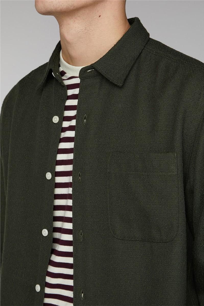 Arvika Olive Green Long Sleeve Loop Texture Shirt
