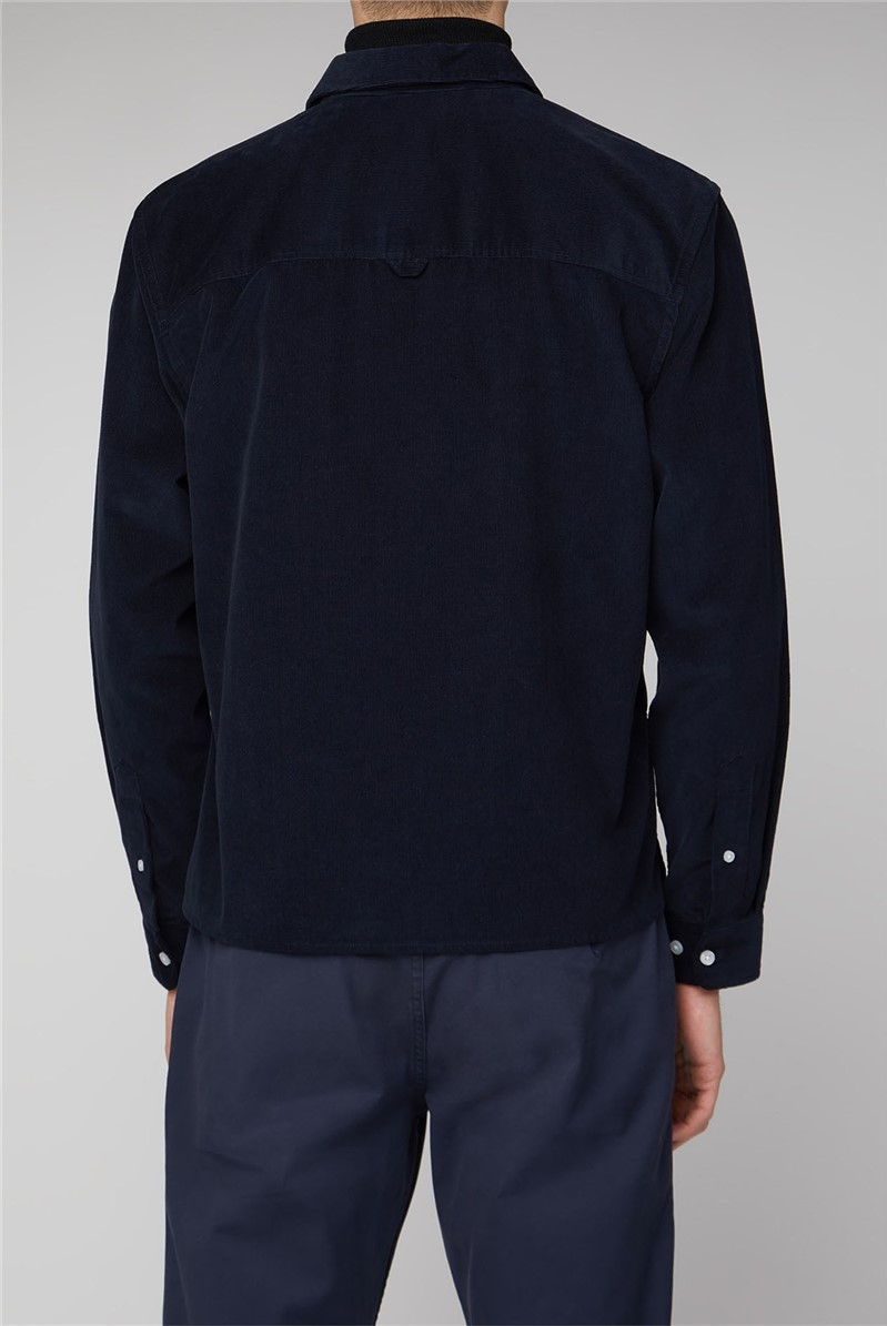 Torsby Navy Long Sleeve Cord Zip Through Shirt