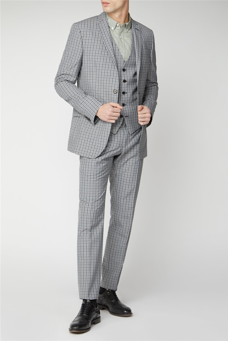 Stone Navy Micro Check Slim Fit Suit Trousers
