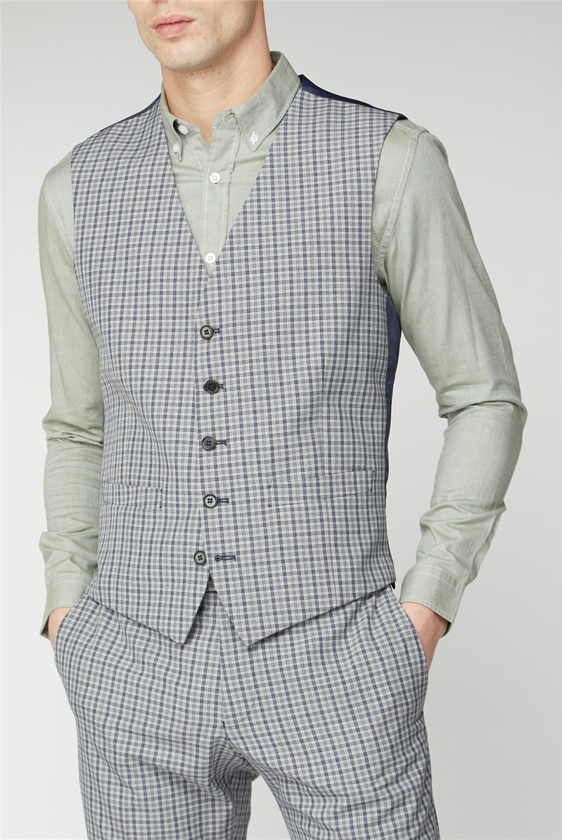 Stone Blue Micro Check Waistcoat