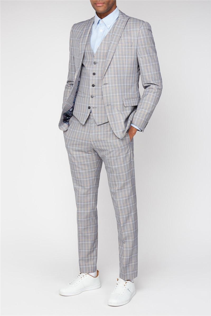 Grey Orange Bold Check Skinny Fit Waistcoat