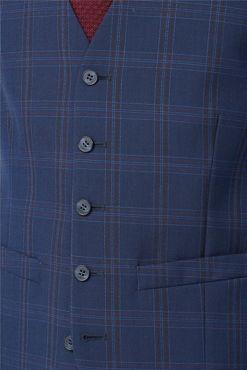 Navy Pink Bold Check Waistcoat