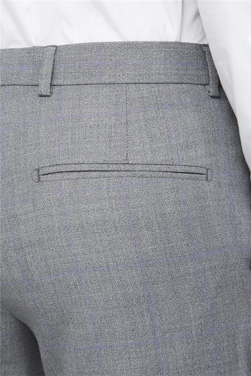 Grey Windowpane Check Tailored Fit Suit