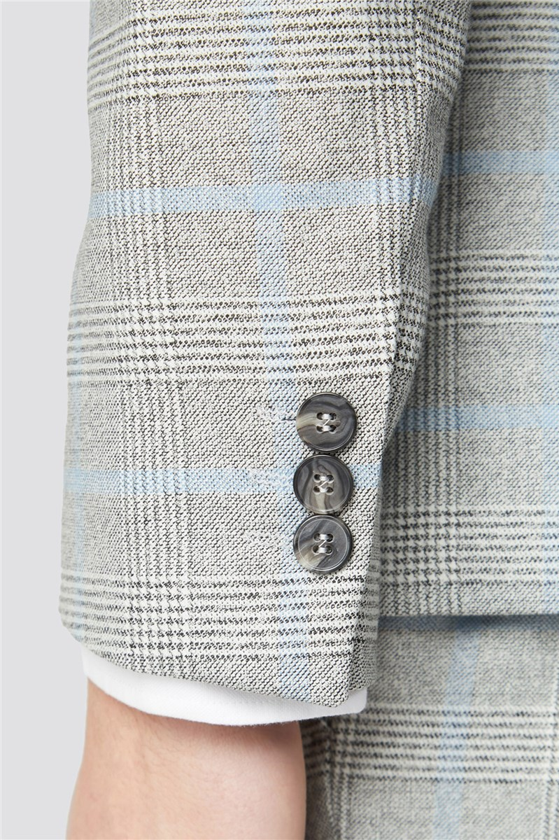 Grey Blue Checked Suit Trousers