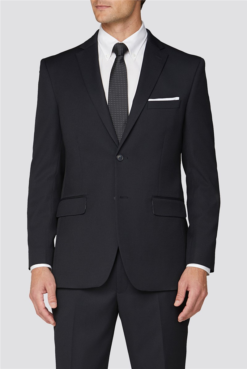 RG by  Navy Texture Tailored Fit Two Piece Suit