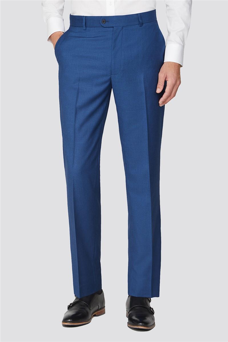 Mid Blue Plain Tailored Fit Two Piece Suit