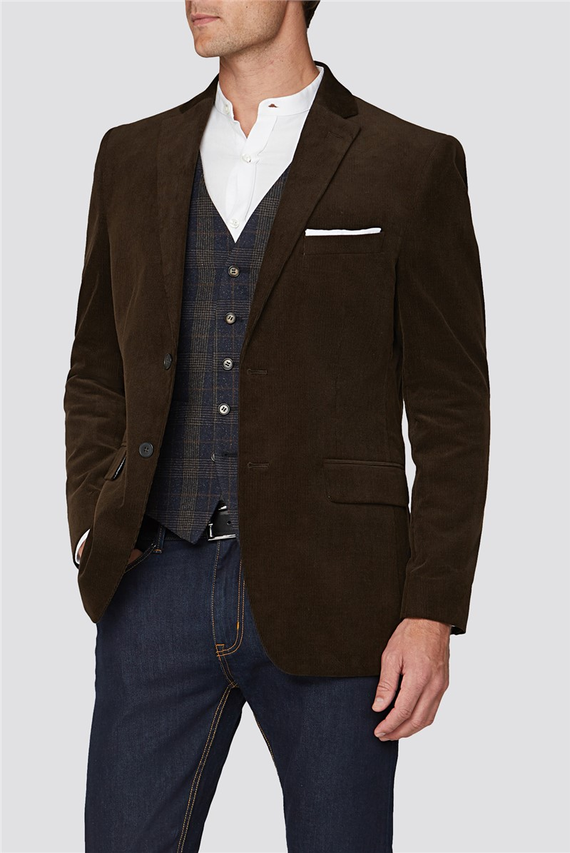 Brown Cord Tailored Fit Jacket