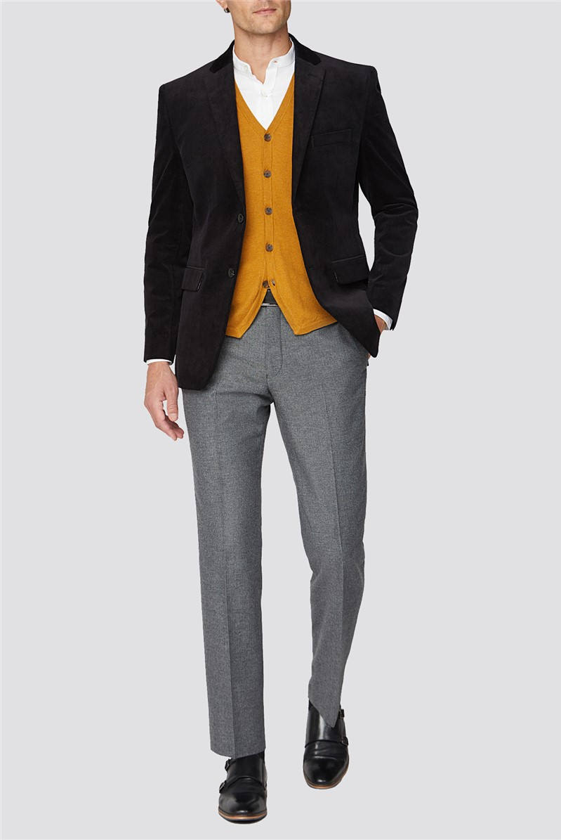 Black Cord Tailored Fit Jacket