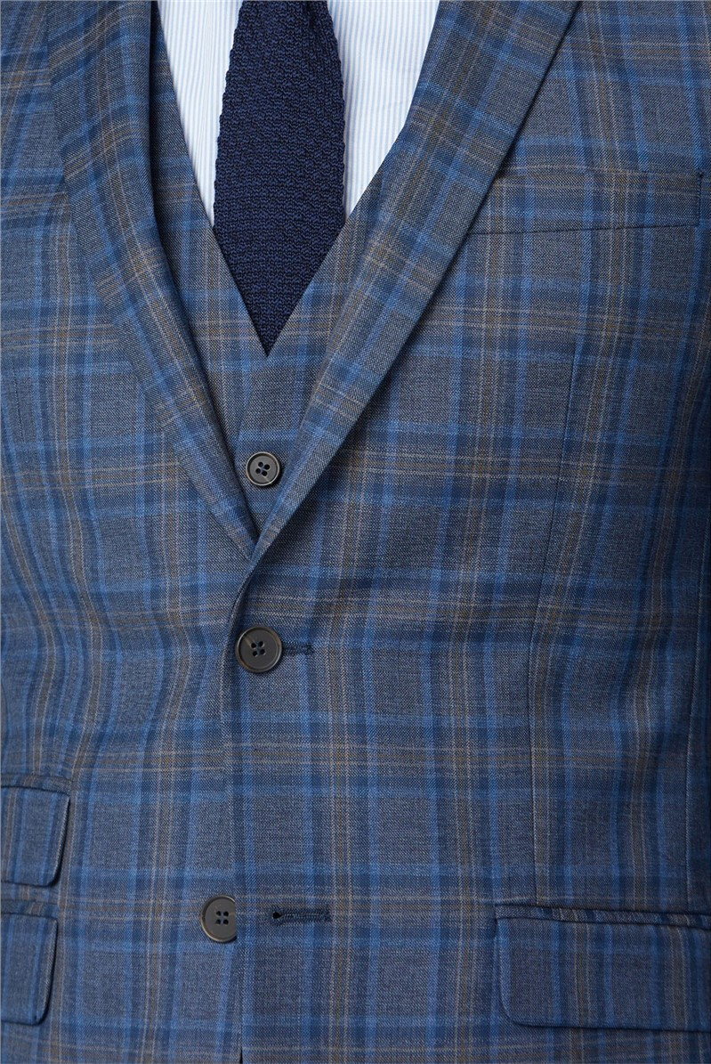Blue with Rust Windowpane Check Tailored Fit Waistcoat