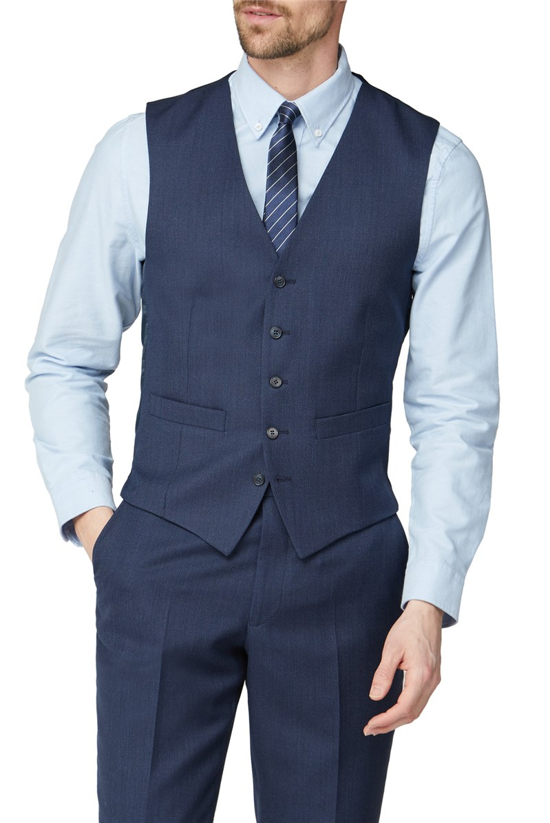 Blue Texture Birdseye Performance Regular Fit Suit