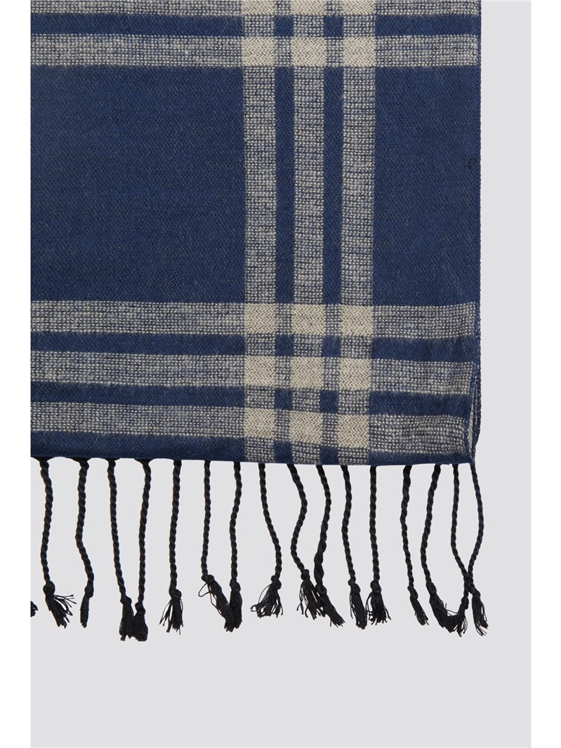 Navy Rust Check Scarf